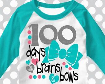 School svg, 100th day of school svg, brains and bows svg, teacher svg, school, 100 days, SVG, DXF, EPS, 100 days shirt, girls svg, cutter