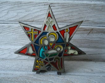 Vintage Candle holder - Iron Candle holder - Star Candle Holder - Holy Family decor - Vintage lighting - Colorful Candle Holder - Cast Metal