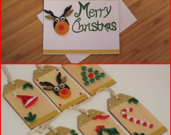 SALE! Christmas Set of 12 Cards and Gift Tags