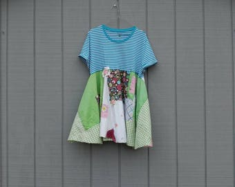 Upcycled tunic,repurposed clothing,patchwork top,patchwork tunic,pastel,blue,green,artsy clothing,boho,eco friendly clothing,vintage fabrics