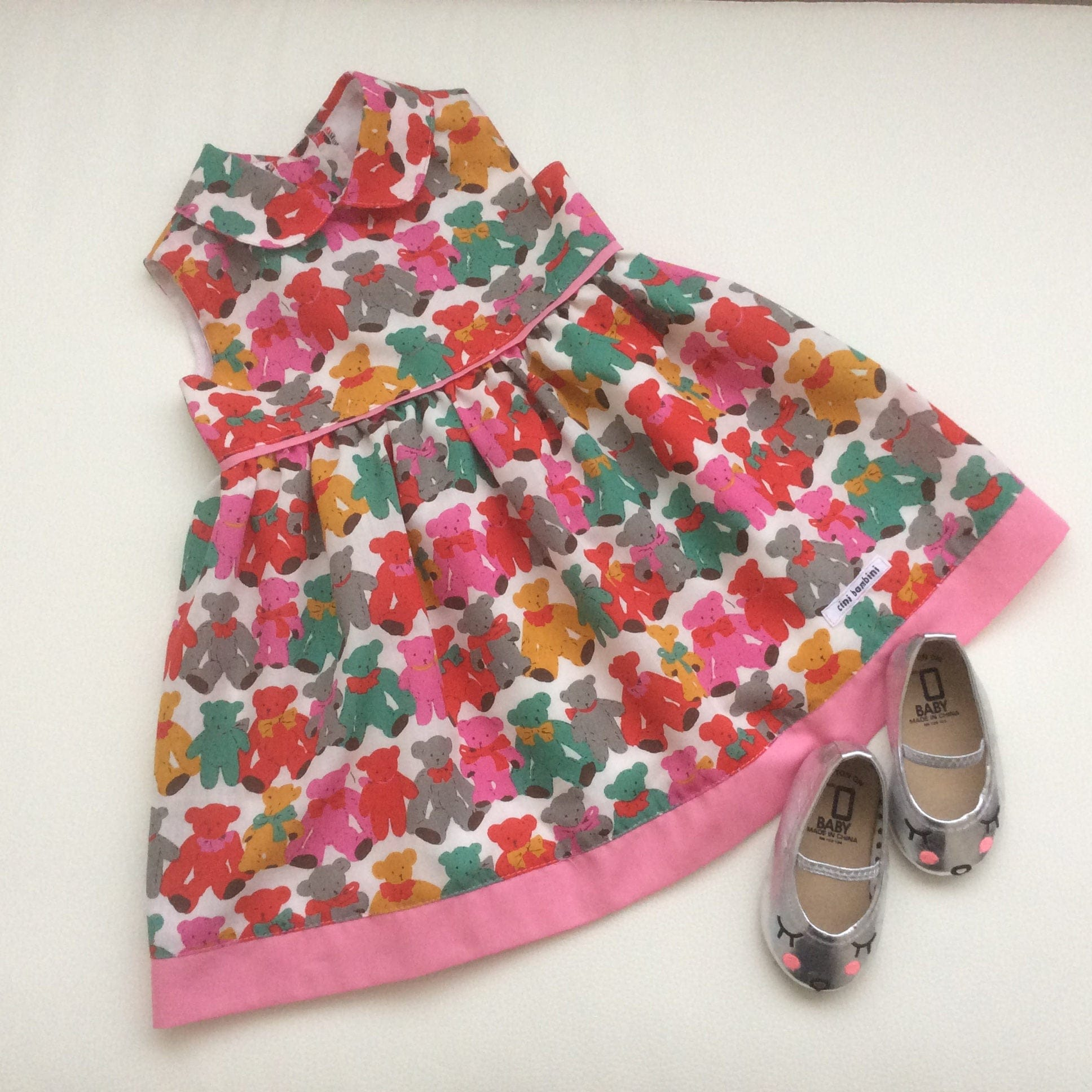 Girls Teddy Bear Dress Girls Peter Pan Collar Dress Girls Summer
