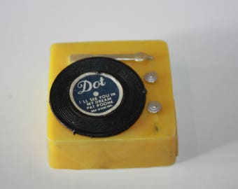 Vintage Barbie Yellow Record Player Dot Records Pat Boone