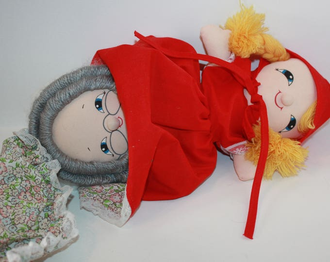 "Vintage Little Red Riding Hood 14"" Plush Stuffed  3 in 1 Flip Rag Doll 1980's Storytelling"