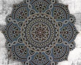 35cm Boho Hand Painted Wooden Henna Mandala Wall Hanging (Bohemian Home Decor/Art/Interior Design)