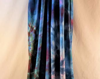 Size Small.   Island Jumpsuit.  Custom tie dye/ice dye.  Blues, greens, reds.