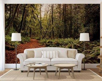 Peel And Stick Wall Mural, Wall Mural Forest, Forest Wall Decal, Wall Decal