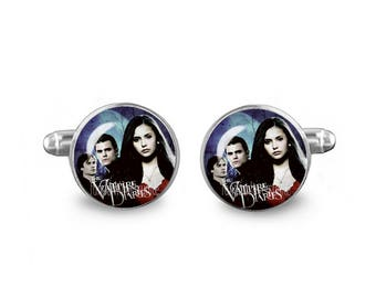 Vampire Diaries Cuff Links Elena Stephan Damon 16mm Cufflinks Gift for Men Groomsmen Vampire Cuff links Wedding Cufflinks
