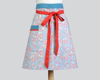 Flirty Retro Half Apron Floral and Red and Teal Straight Style Skirt with Lined Skirt and Lined Pocket