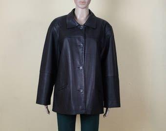 Vintage Leather Jacket Womens Black Leather Jacket Black Real Leather Jacket Genuine Leather Coat Oversize Leather Jacket Padded Shoulder