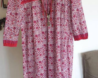 Red long dress floral Indian cotton voile