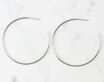 Sterling Silver Semi Circle Studs / Silver Hoop Studs / Semi Circle Earrings / Circular Studs / WS279