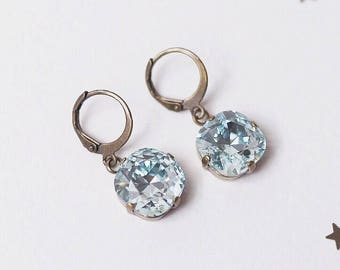 Swarovski Crystal Square Drop Earrings