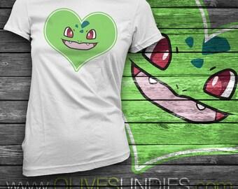 Bulbasaur Heart Face and Tail T-Shirt