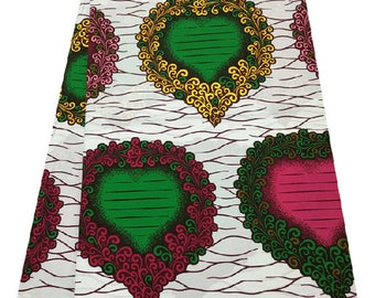 White Green Pink Hearts Ankara African Prints