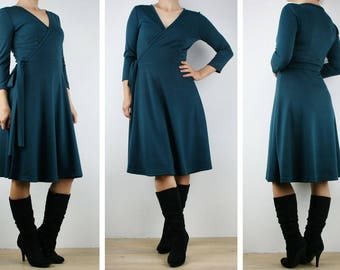 Wrap dress, ladies dress knee length winter dress Teal Ponte, Made in Australia size 8 10 12 14 16