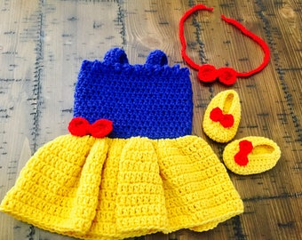 Snow White Costume, Disney Princess Dress, Baby Girl Photo Prop