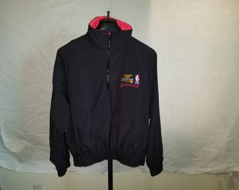 Vintage 1990's Size Large Miller Genuine Draft NBA All Star Balloting Windbreaker With One Pocket For Both Hands On Front And NBA Logo