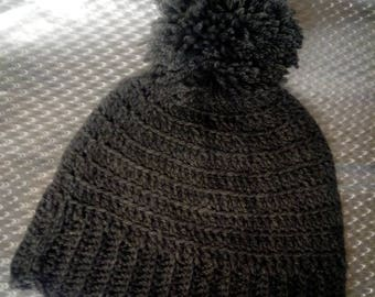 Handmade men's crochet hat and infinity scarf set