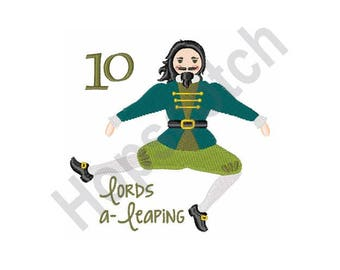 10 Lords A Leaping - Machine Embroidery Design