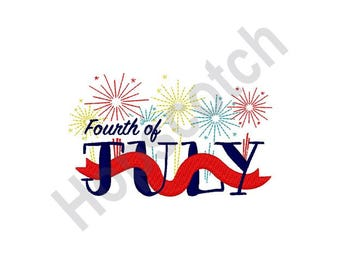 Fourth Of July - Machine Embroidery Design, Fireworks