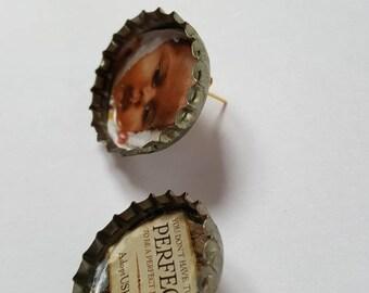 Baby Bottle Cap Stud Earrings