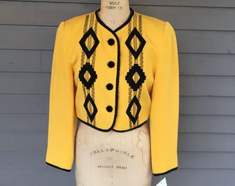 Black and Yellow Cropped 1980s 1990s Blazer | Applique and Corded Hem | Button Front | Jewel Neck | Size Small | Hipster
