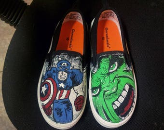 Superhero shoes custom painted  marvel Hulk Captain America