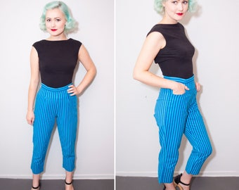 50's Style Blue Striped High Waisted Capris | Size Small