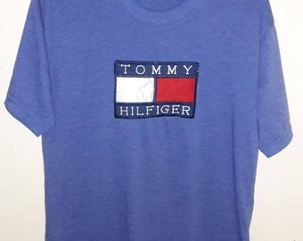 FREE SHIPPING Vintage 90's Tommy Hilfiger Shirt Big Logo Spell Out large Size