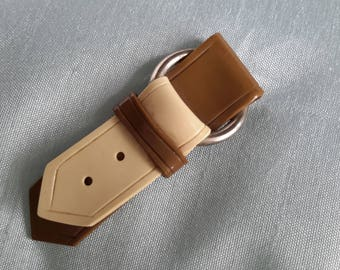 Hat Flash or Lapel Pin 1930s Celluloid Two Tone Buckled Belt.