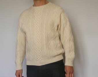 Norwegian Wool Sweater Vintage Aran Wool Sweater Cable Knit Sweater Knitted Pullover Mens Sweater Scottish Sweater