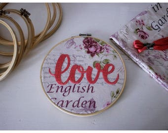Love Embriodery hoop art, vintage art, hand embriodery, sewn, wall decoration,