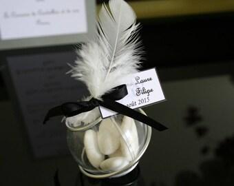 Ball Plexi 5cm silver-black feather