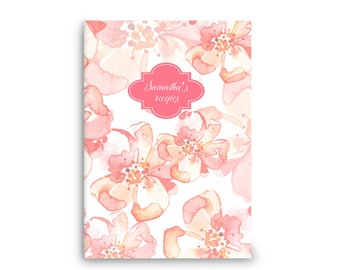 Recipe book • Personalized recipes • pink floral watercolour  - stitch spine -Custom Stationery Journal-notebook - gift for mum/her/family