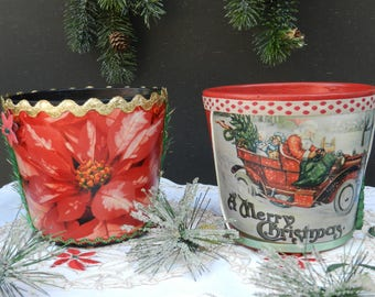 Set/2 - Clay - Pot - Hand - Painted - Photo - Christmas - Containers - Home - Decor - Accent - Red - Black - Poinsettia - Vintage - Jar