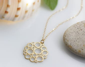 circle necklace, gold circles necklace, gold bubble necklace, golden bubbles, gold pendant necklace, modern pendant, ocean necklace