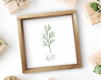 "Mix + Match Kitchen Herb Print || 8""x8"" Dill Kitchen Herb Wall Art || Kitchen Herb Decor || Herb Print Instant Download (DIGITAL PRODUCT)"