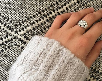Flat silver plated ring