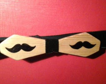 Bow tie wooden varnished Golden whiskers, personalized gift, wedding decor