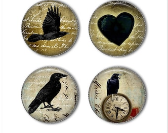 Crow magnets or crow pins, Raven magnets, Raven pins, refrigerator magnets, fridge magnets, office magnets (2)