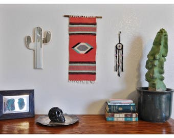 Vintage 8x20 Chimayo Hand-Woven Wall Hanging Strung on a Saguaro Cactus Spine (Coral, Turquoise, Black, Grey, Cream Colors)