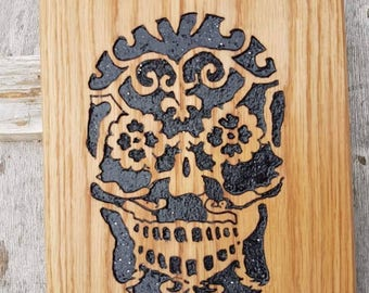 Sugar Skull Day of the dead hand carved and painted wooden plaque