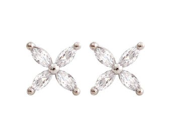 925 Sterling Silver Victoria style Marquise CZ flower Stud Earrings