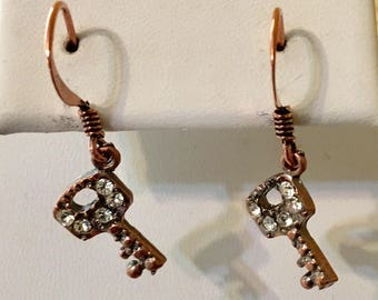 Key with Bling Copper Filled Earrings