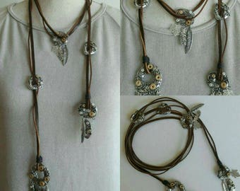 Boho leather wrap Necklace/Choker, Ibiza festival brown strand Charms necklace