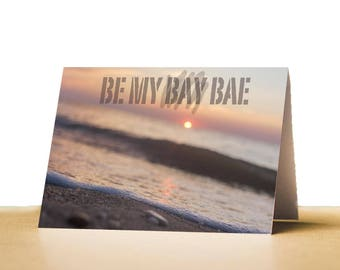 Be my bay bae Printable Valentines Day Card for Husband, Wife, Valentines Card for Boyfriend, Girlfriend, Instant Download, Beach Valentine