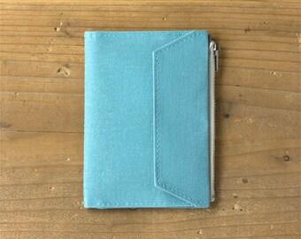 fourruof x Traveler's Factory Collaboration Zipper pocket Case Passport size Sky Blue TRAVELER'S COMPANY Made in Japan Traveler's Notebook