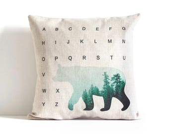 Bear Wilderness Pillow Cover, Tree Pillow, Throw Pillow, Cushion Cover, Pillow Covers, Decorative Pillow Cover, Sofa throw pillow
