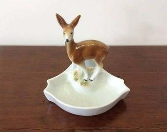 Porzellanfabrik Carl Scheidig Gräfenthal Vintage Deer Trinket/Pin Dish Porcelain Woodland Creature Made in Germany 1935-1972 Backstamp