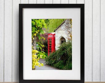 Wanderlust Wall Decor, Castle Combe England Photo, Original Art, Red Phone Booth Photography, The Cotswolds Large Travel Print, Farmhouse